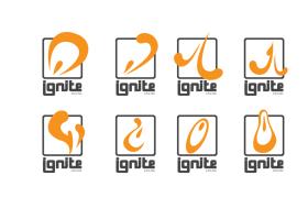 Concepts for Thrust Interactive's Ignite engine logo. (Illustrator)