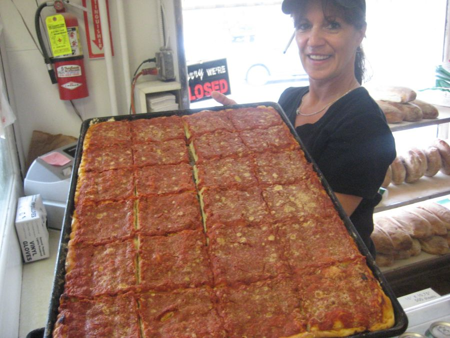 Tomato Pie fresh from the oven at Perreca's in Schenectady.