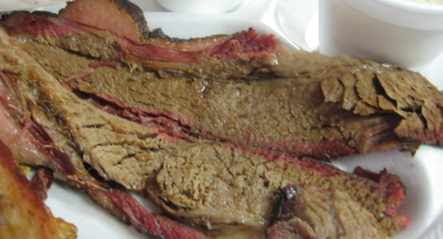 Brisket with perfect smoke ring from Snow's BBQ, Lexington, Texas.