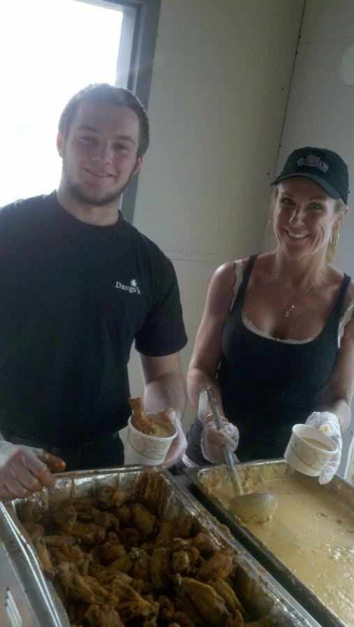 Serving up Buffalo Wing Chowder at Dango's