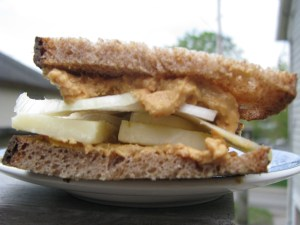 Peanut butter, cheese and onion sandwich