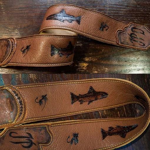 BurnWizard Fly Fishing leather custom guitar strap