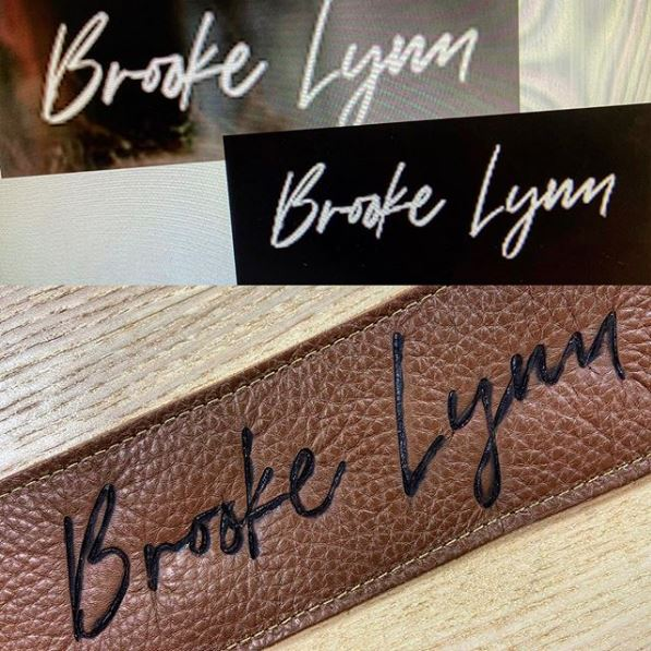 Burnwizard custom signature autograph engraving on leather guitar strap