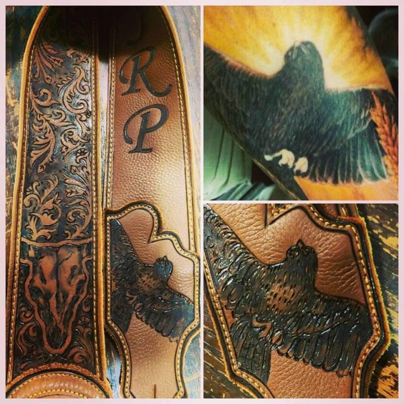 Burnwizard tattoo bird crow dove art on leather