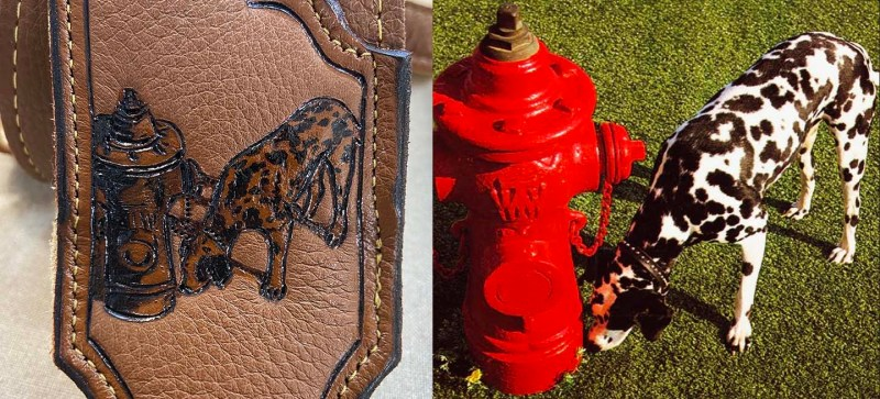 Dalmatian dog and fire hydrant pet portrait engraved on leather