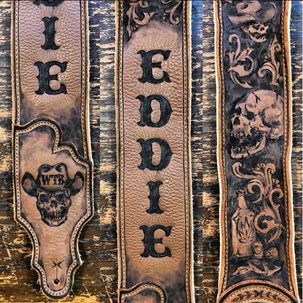 eddie-outlaw-skull-cowboy-hat-leather-guitar-strap-burnwizard-custom
