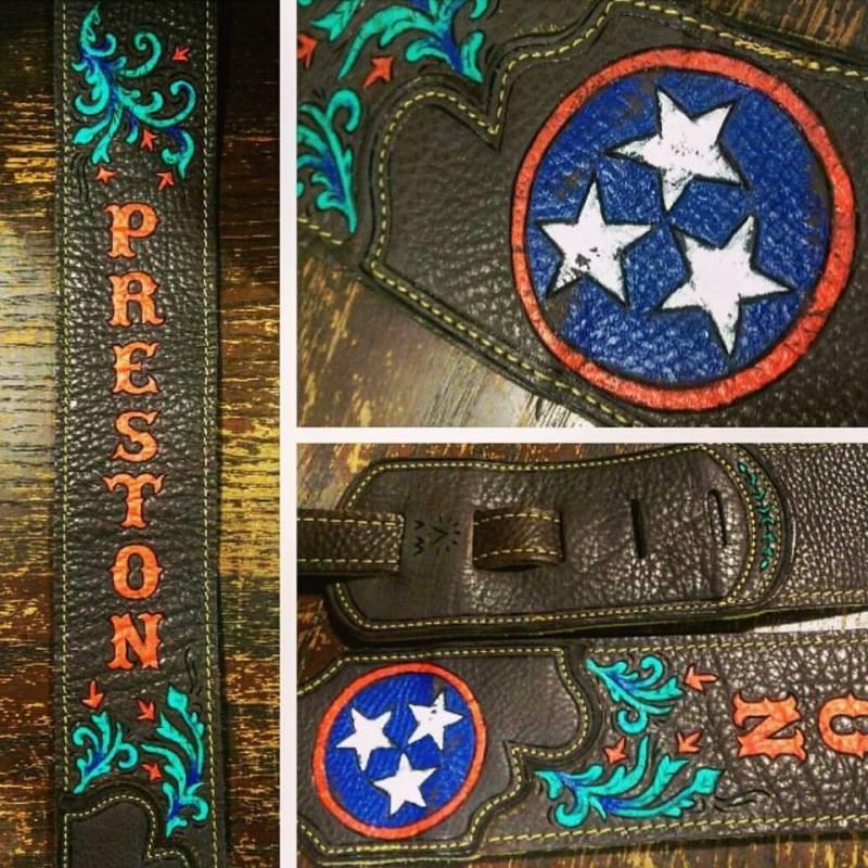 burnwizard preston tennessee flag scrollwork guitar strap