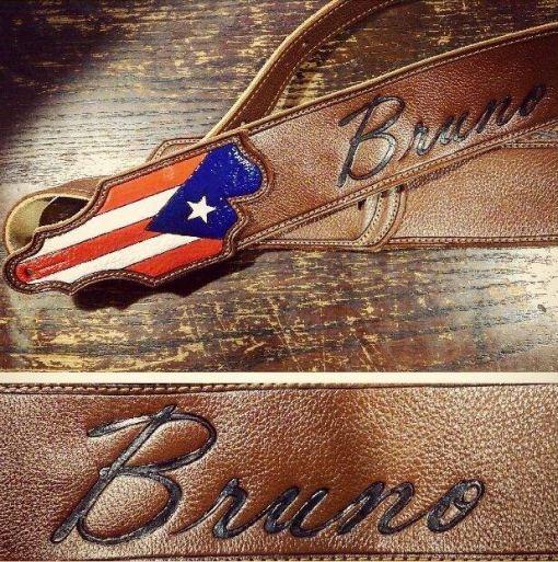 puerto rico flag burnwizard guitar strap custom