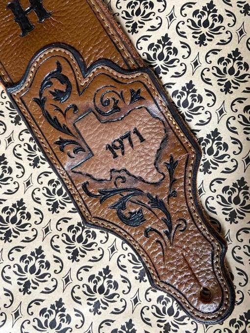texas scrollwork 1971 burnwizard custom guitar strap