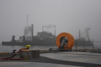 Bigger boat and fog and orange thing