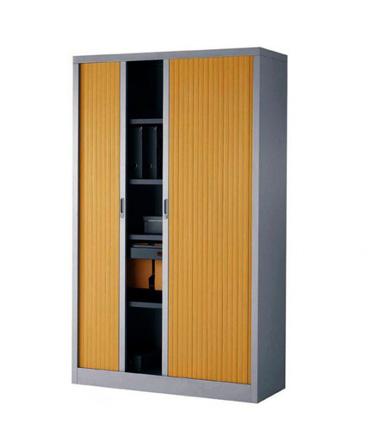 armoire metallique gris et bois