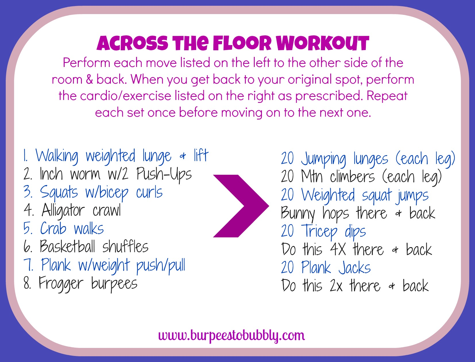 Wednesday Workout Across the Floor Workout  Burpees to