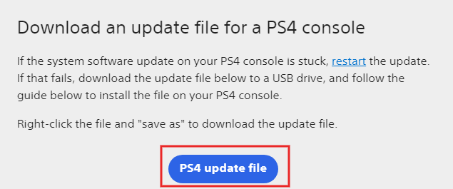 Download an update file for a PS4 console