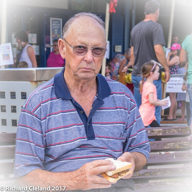 "Gordon ""The Chook Man Kakoschke eating a sandwich."
