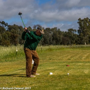 Dick Cleland drives from the 3rd tee (file photo)