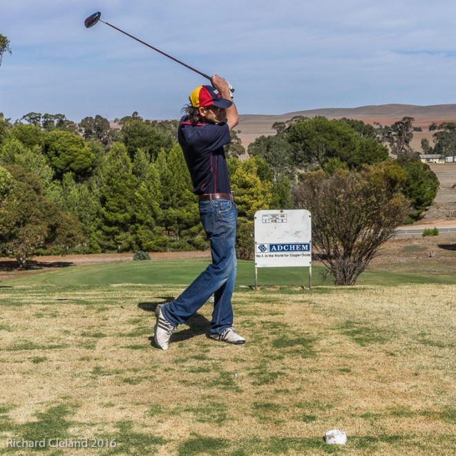"""Michael """"Tickkers"""" Tickner blasts one from the first tee."""