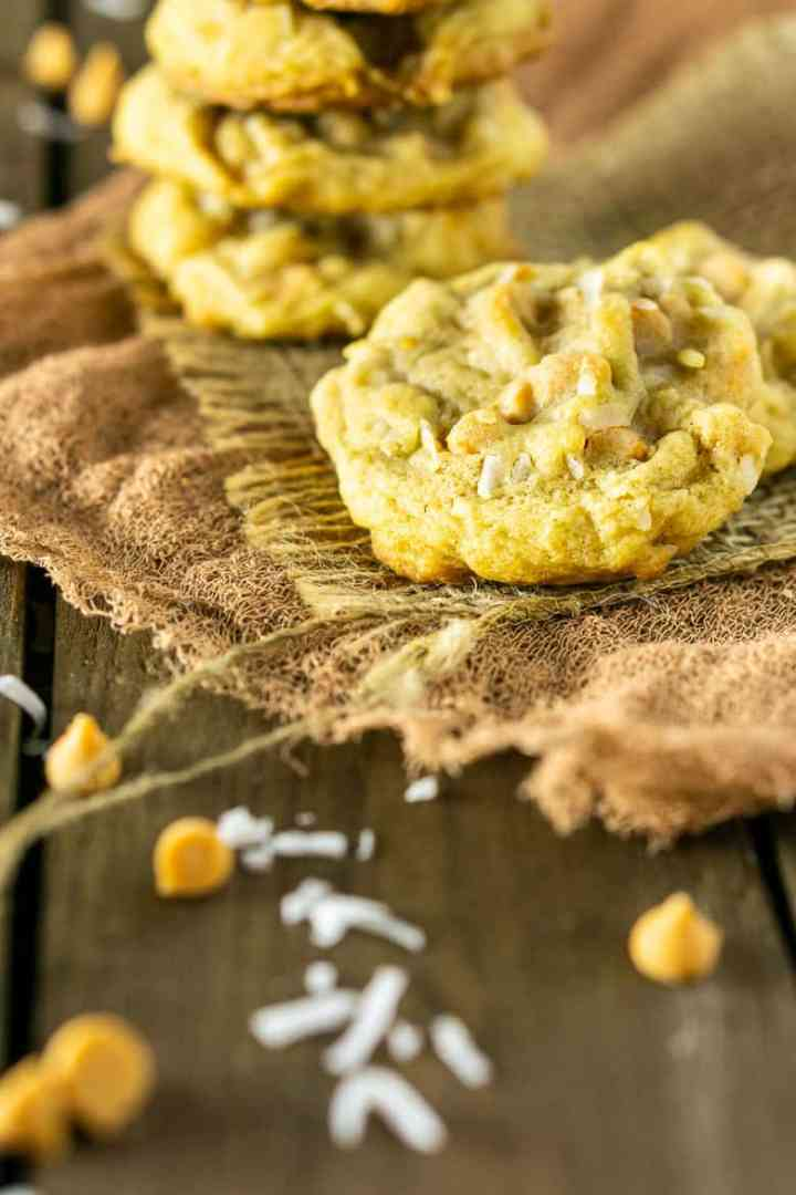 A butterscotch-coconut-bourbon cookie on burlap.