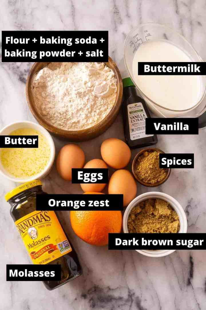All the gingerbread waffle ingredients with black and white labels.