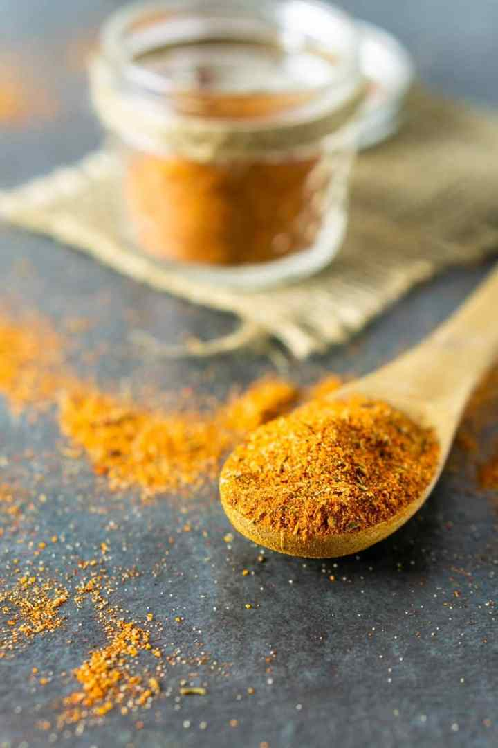 A spoonful of homemade Cajun seasoning.