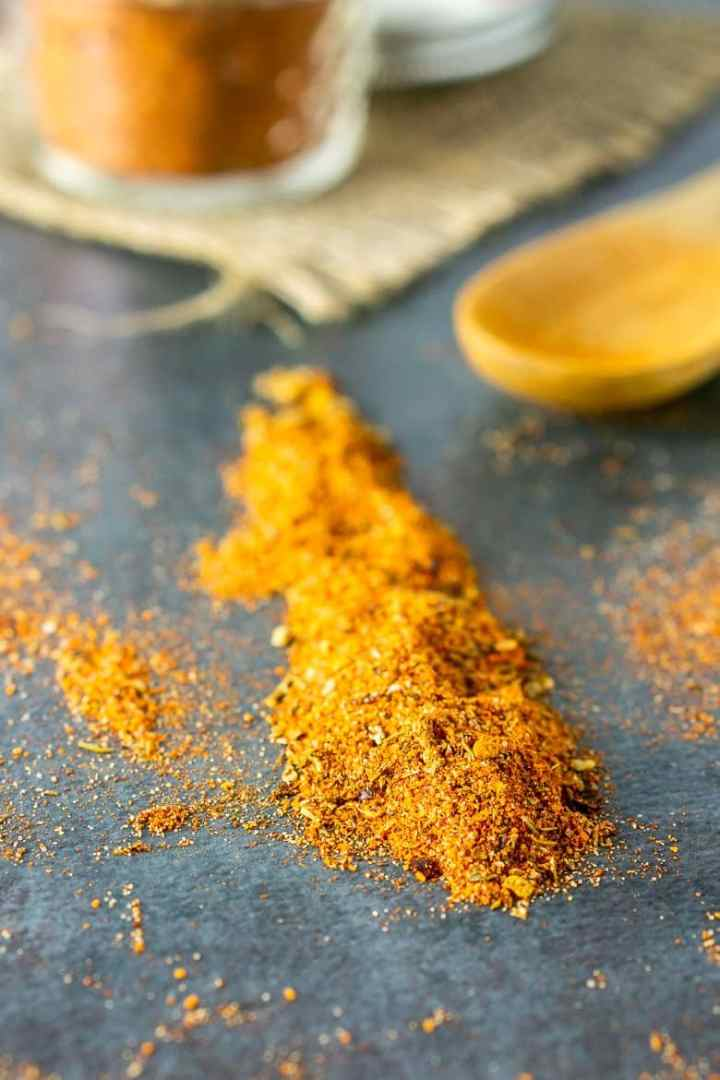 A line of homemade Cajun seasoning.