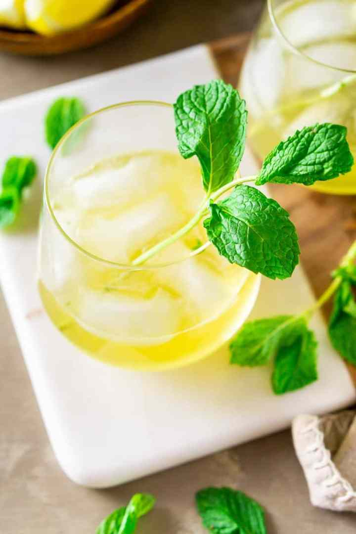 An aerial view of a single Irish whiskey smash with fresh mint.