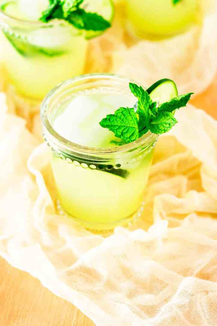 An aerial view of the mint-cucumber lemonade.