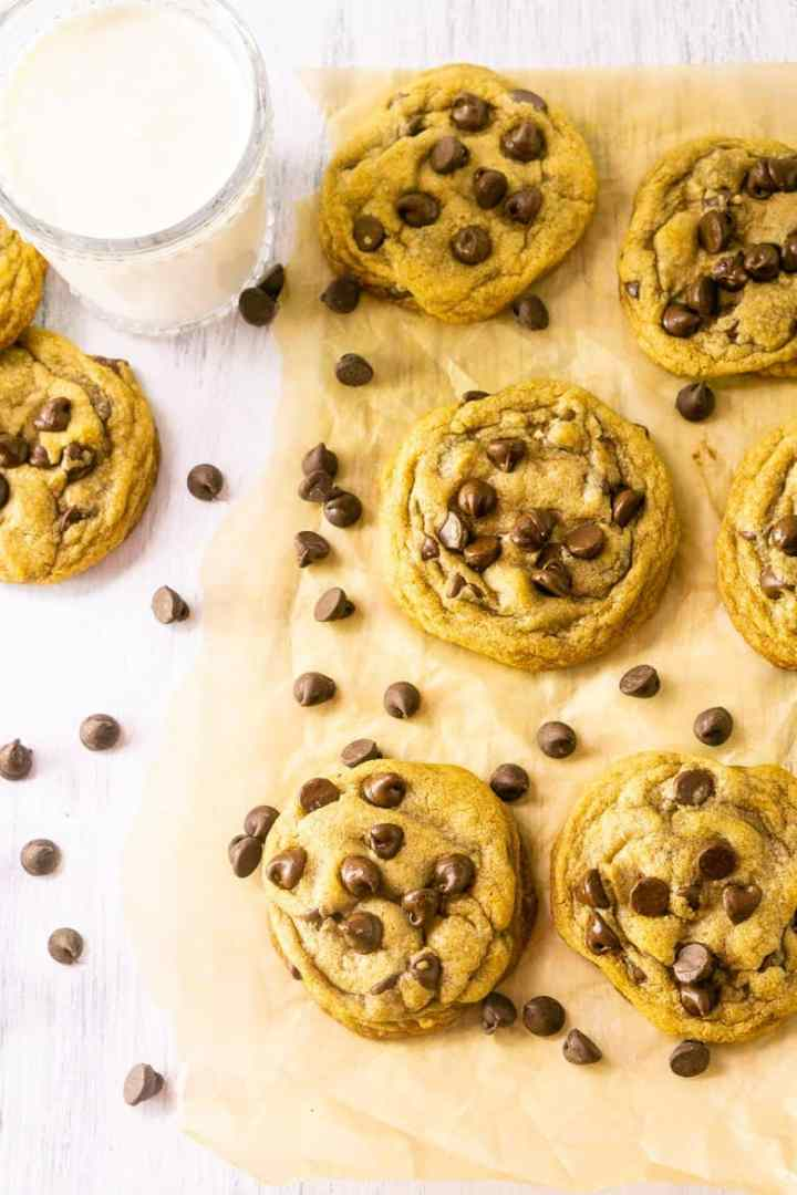 An aerial view of the best brown butter chocolate chip cookies.