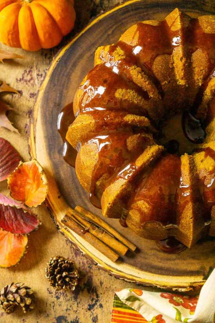 An aerial view of the buttermilk-pumpkin pound cake with fall foliage.
