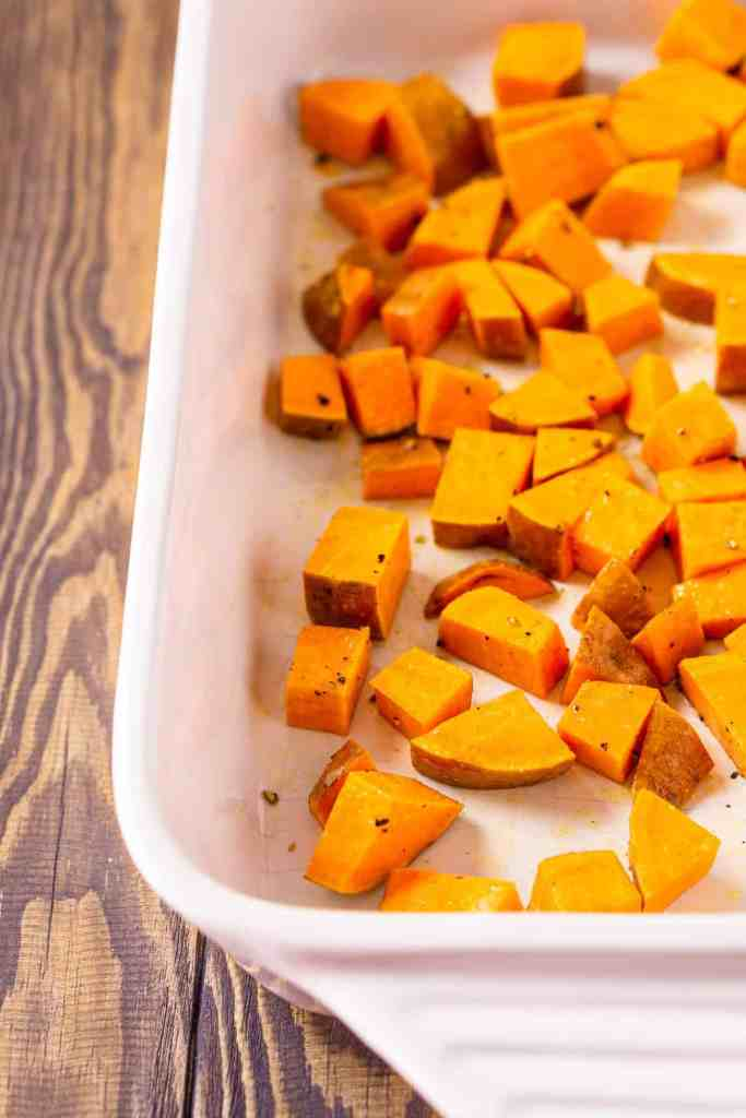 Sweet potatoes cut into small cubes ready to roast.