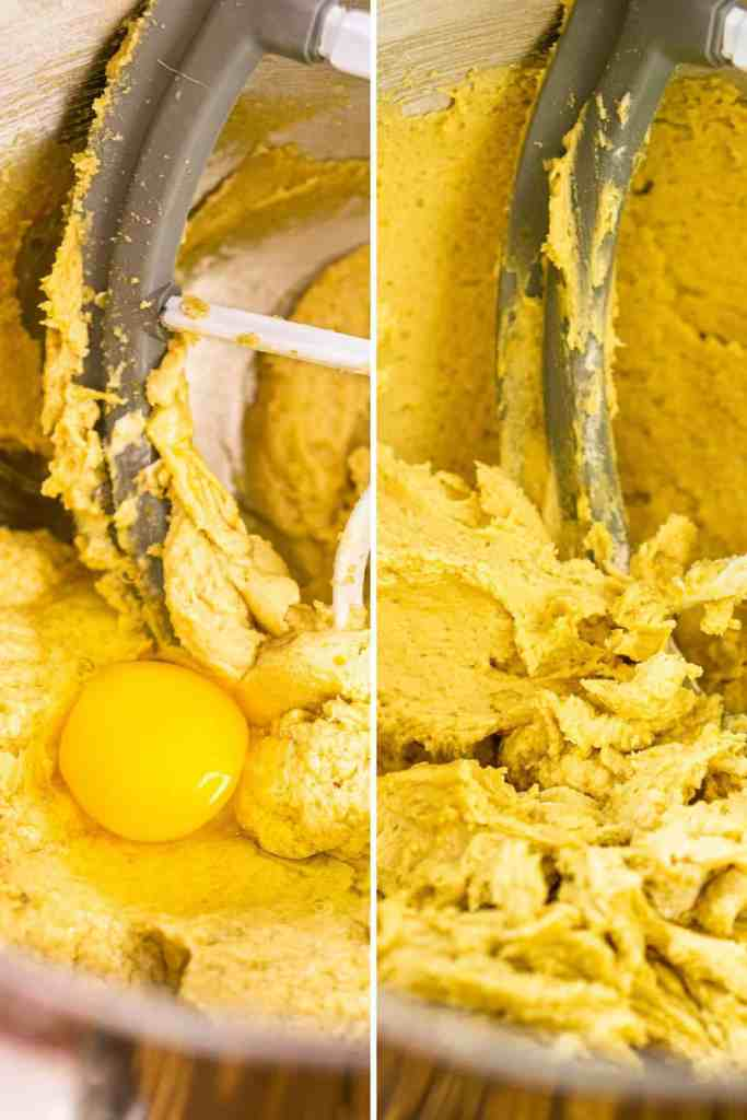A collage of the cookie dough before beating in the egg and then the dough after beating the eggs.
