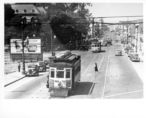 1940s - N at Valencia and Duncan - Market Street railroad 9 line streetcar number 566 AAC-8508