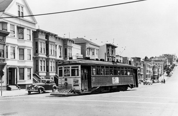 1948 Streetcar at Dolores and 22nd Street AAB-3485