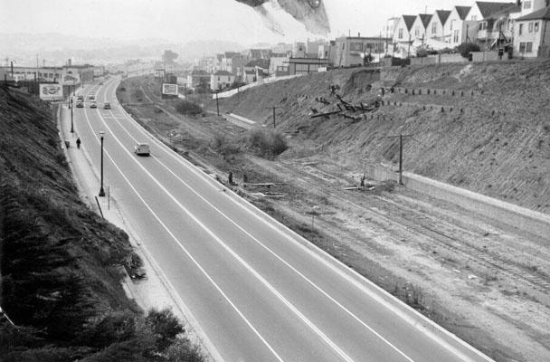 1942 Bernal Cut south from Richland bridge landslide AAA-9922