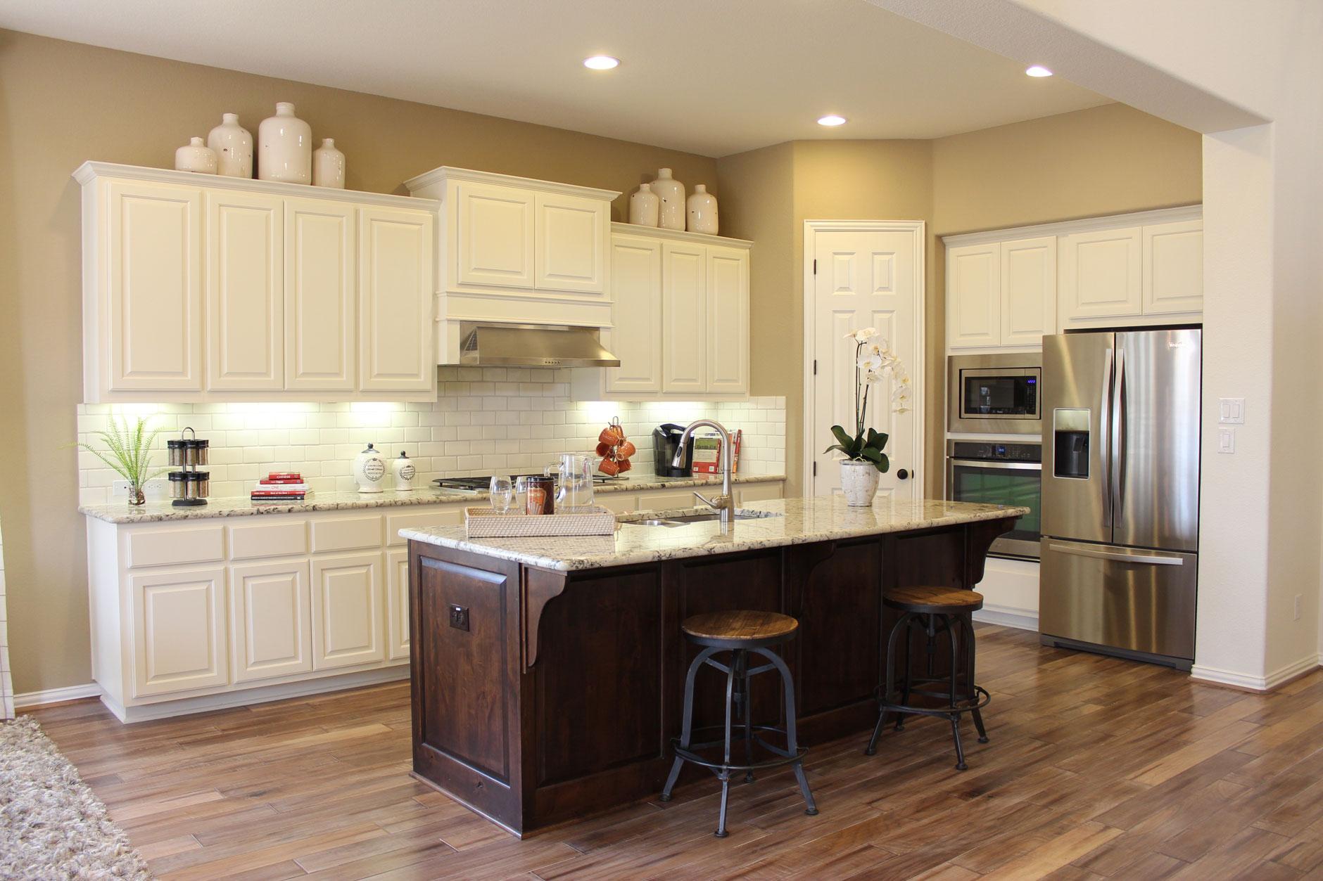 Choose flooring that complements cabinet color