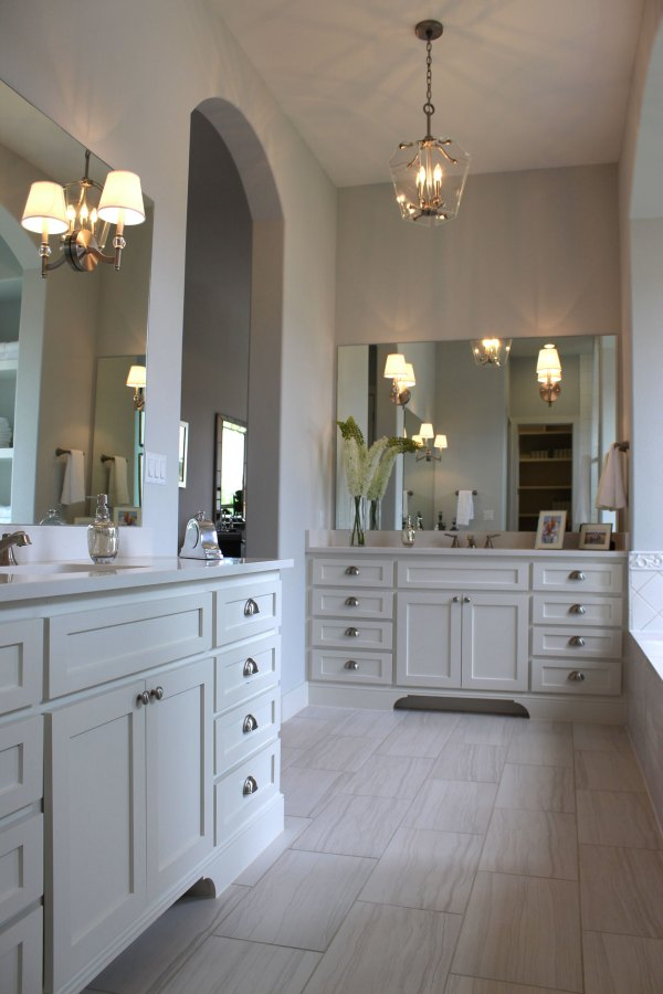 Master Bathroom with White Cabinets
