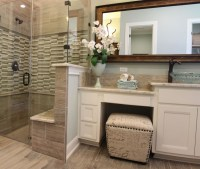 Master bath with white cabinets and vanity seat