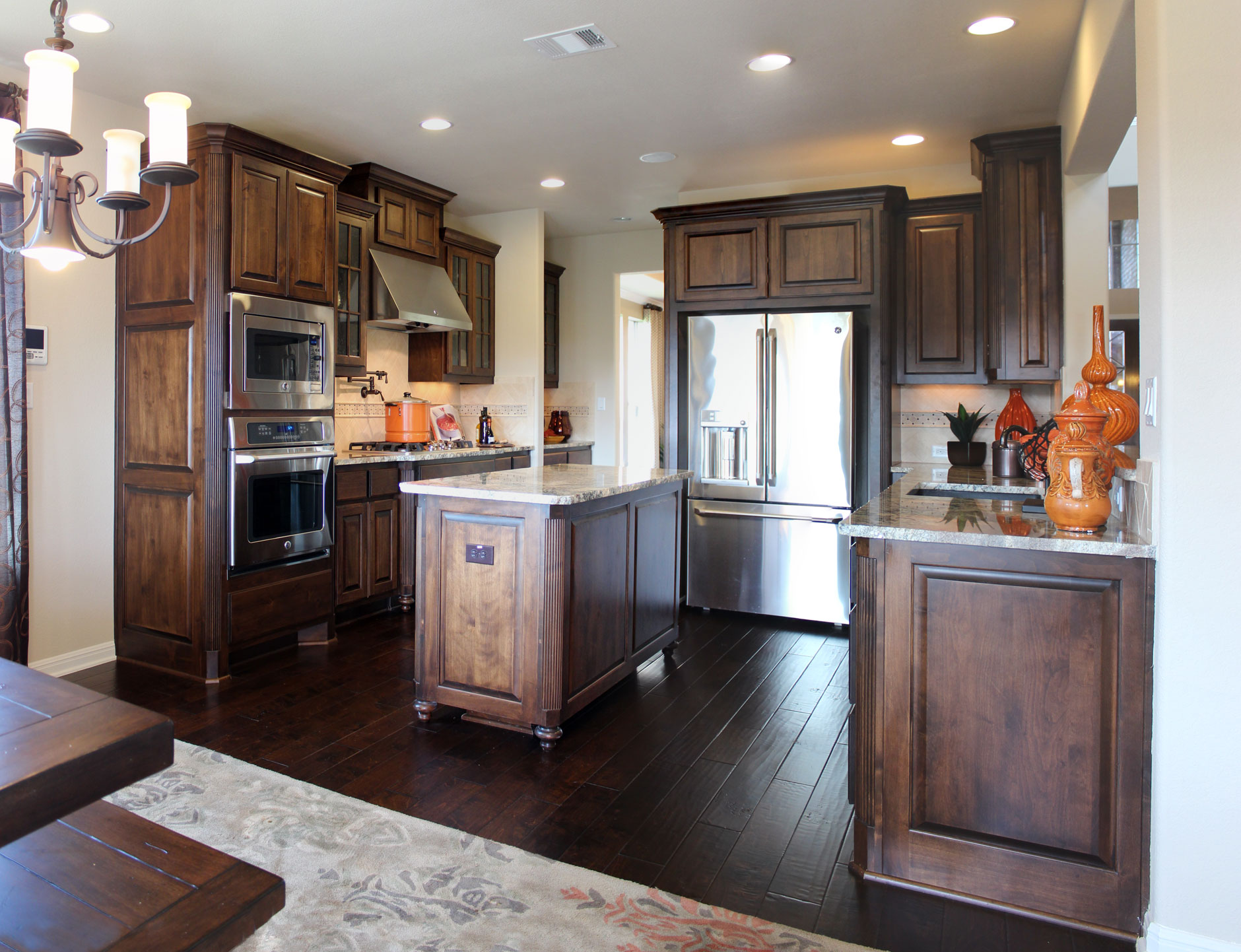 red oak kitchen cabinets design for a small space 027 - burrows central texas builder ...