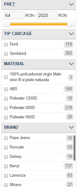 Filtre, atribute produse și căutare avansată pentru magazinele online filtre magazin virtual bursasite romania