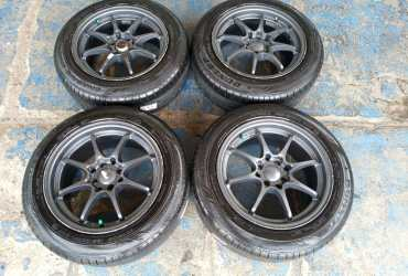 ready velg racing second ce28 ring 15×7 pcd 4×100/114 + ban dunlop 185-65