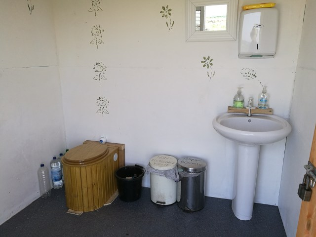 inside the new compost toilet