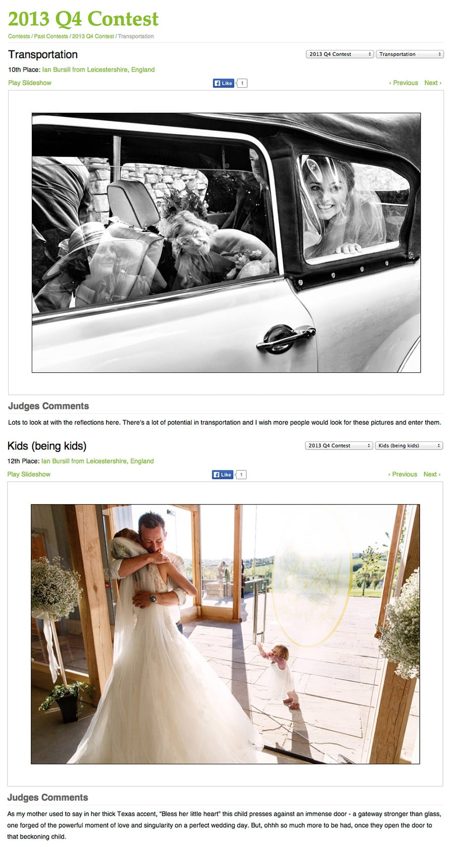 Two Placings In The WPJA's 2014 Photographer Of The Year Competition