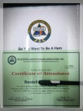 my certificate of attendance and handbook