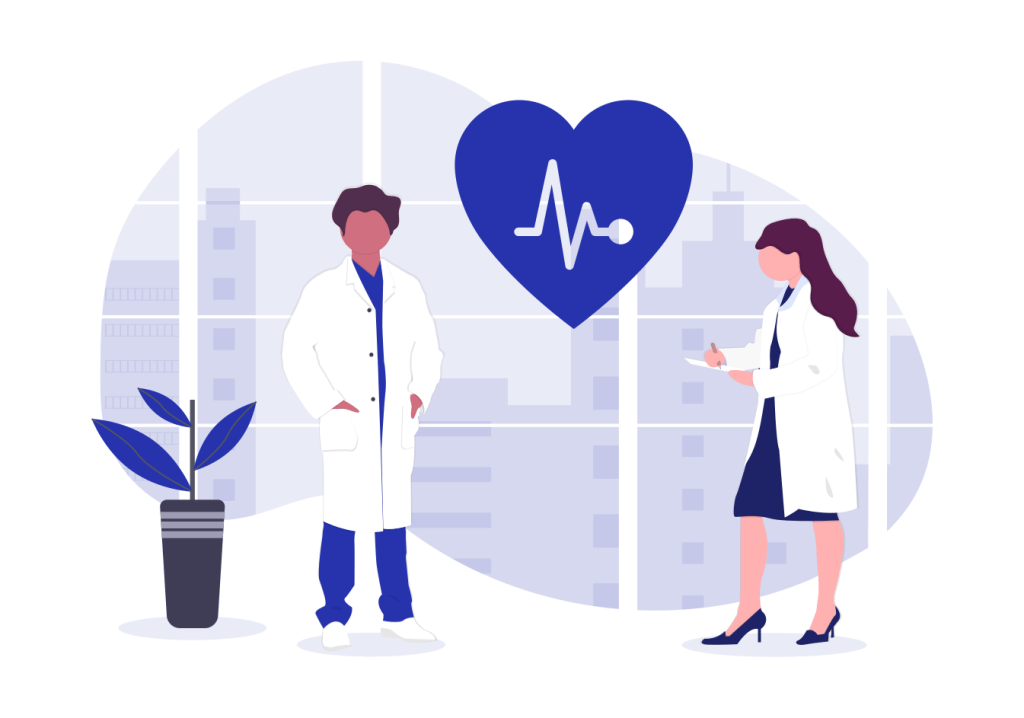 illustration of doctors and a heartbeat symbol