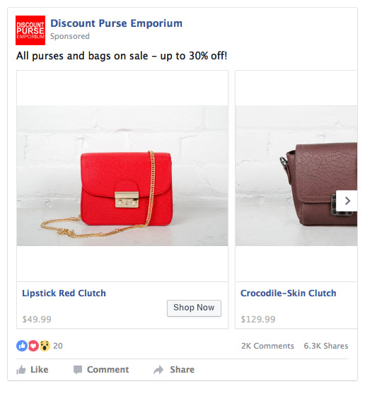 Facebook Carousel Ad Example - Handbags