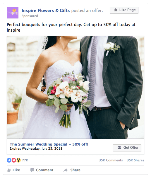 Facebook Page Lead Ad Example - Flowers