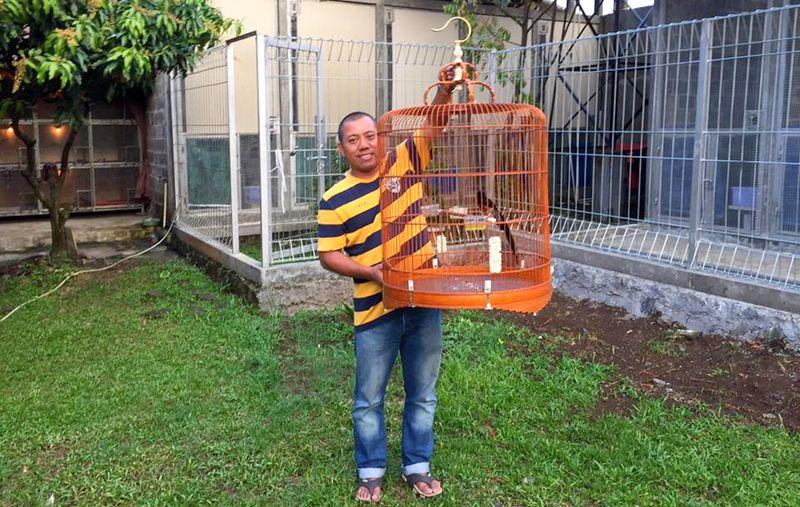 Om Catur bersama burung Murai Batu ekor terpanjang di dunia (facebook.com)