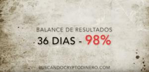 Lee más sobre el artículo Balance de resultados 36 dias x 97% ganancias