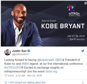 Lee más sobre el artículo La leyenda de la NBA Kobe Bryant hablará en la conferencia Crypto de Tron