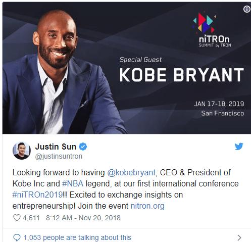 En este momento estás viendo La leyenda de la NBA Kobe Bryant hablará en la conferencia Crypto de Tron