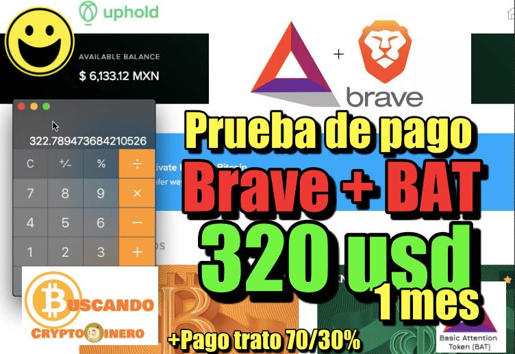 En este momento estás viendo Brave 320 usd en 1 mes «Prueba de pago con BAT» y pago de 70/30